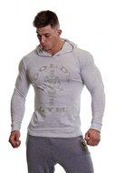 Gold's Gym - Muscle Joe Long Sleeve Hooded T-shirt (White Marl)